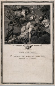 Jupiter carrying Hercules to be breastfed by a goddess