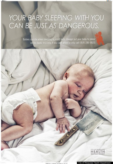 Anti-cosleeping campaign poster, Milwaukee Dept. of Health